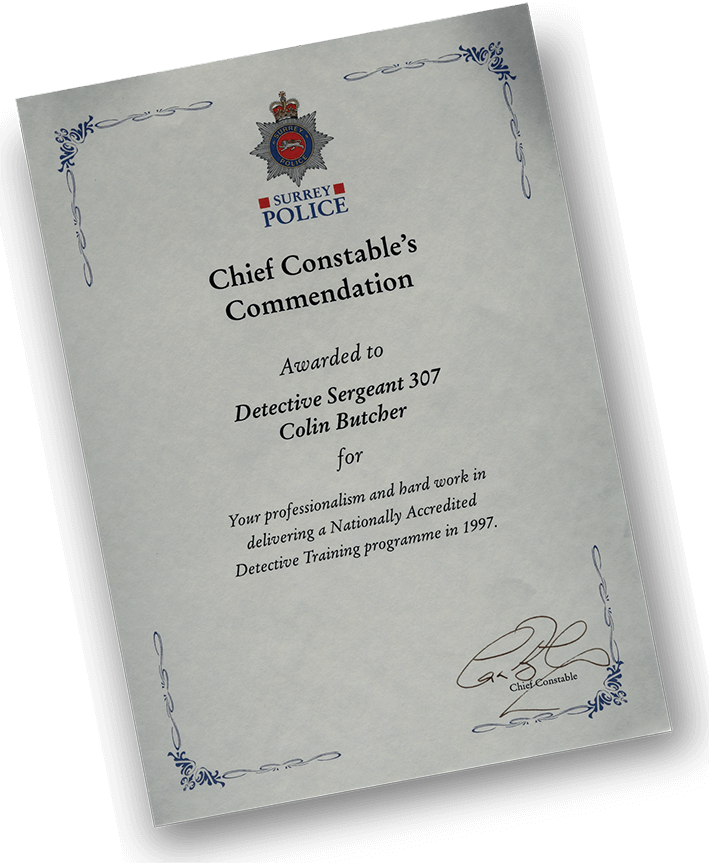 Colin Butcher - Chief Constable's Commendation